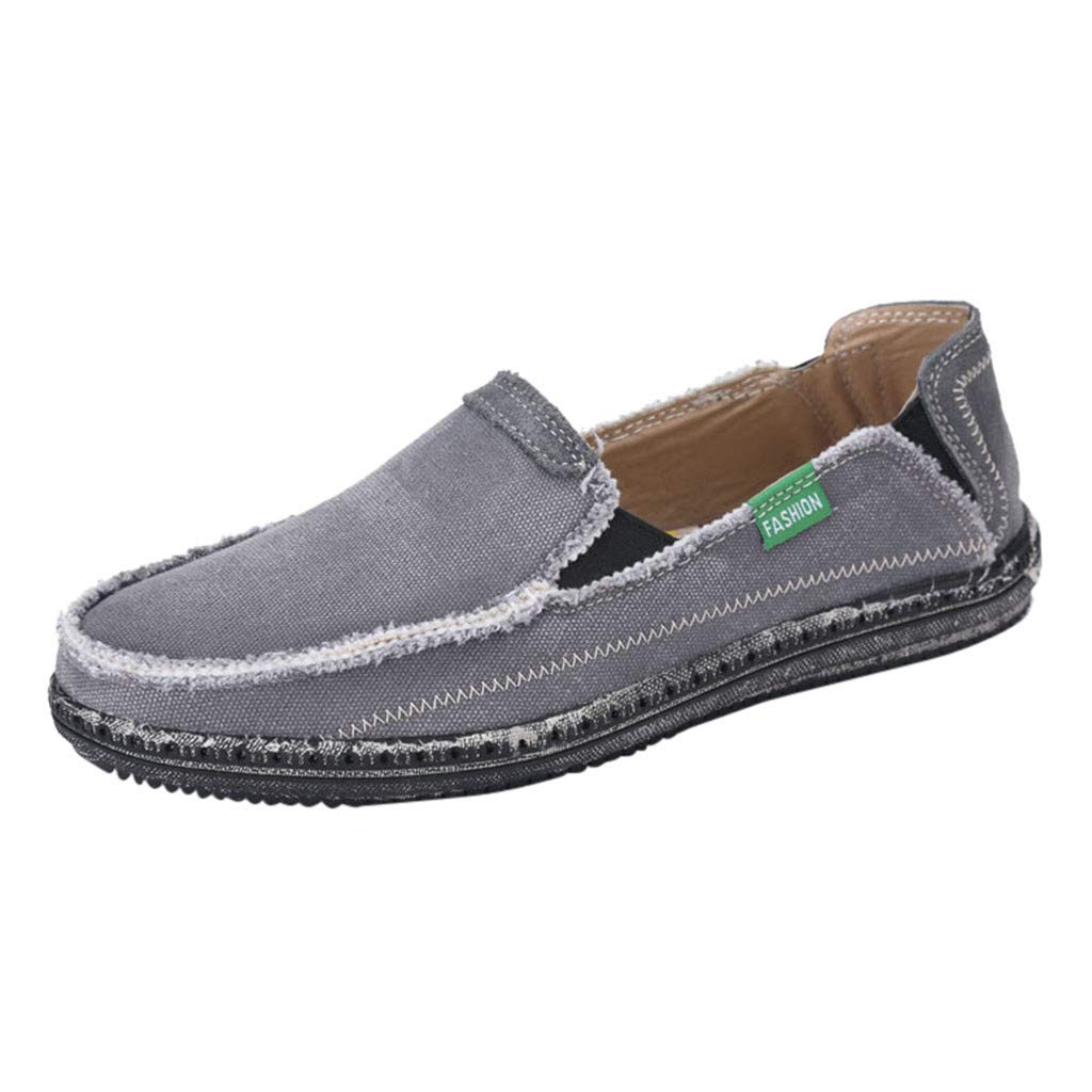 Dermanony Men's Slip on Deck Shoes Loafers Canvas Boat Shoe Non Slip Casual Loafer Flat Outdoor Sneakers Walking Shoes Gray by Dermanony _Shoes