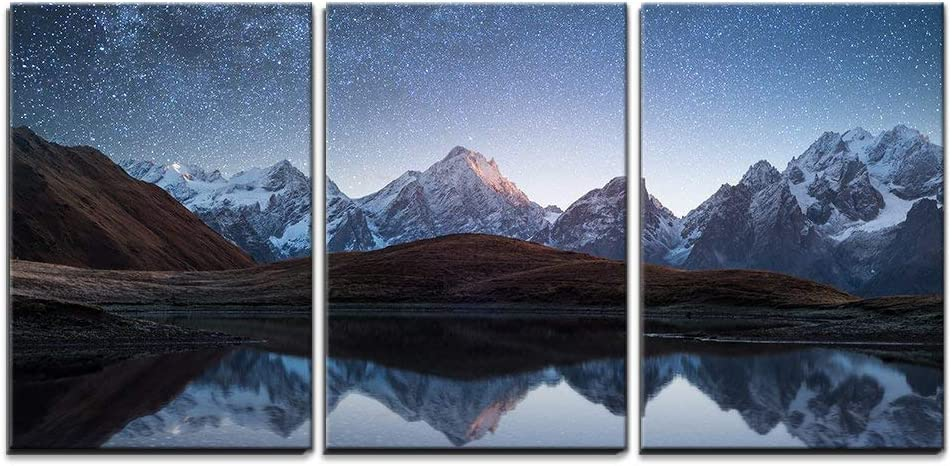 wall26 - 3 Piece Canvas Wall Art - Night Sky with Stars and The Milky Way Over a Mountain Lake - Modern Home Art Stretched and Framed Ready to Hang - 16