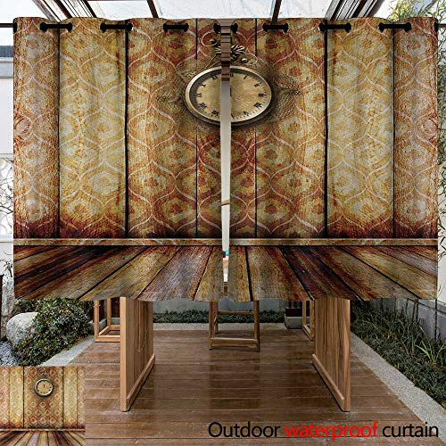 (Onefzc Indoor/Outdoor Curtains Victorian Antique Clock on Medieval Style Wall Wooden Floor Classic Architecture Theme Art for Patio/Front Porch 84