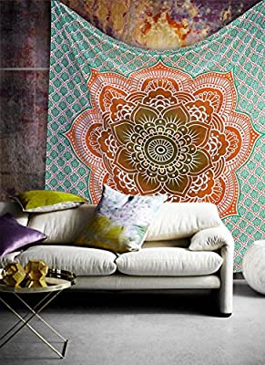 Popular Handicrafts Ombre Hippie Mandala Bohemian Psychedelic Intricate Floral Design Indian Bedspread Magical Thinking Tapestry 84x90 Inches,(215x230cms) Orrange