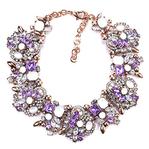 Fashion Purple Accessories (Zthread Bib Statement Necklace Colorful Glass Crystal Collar Choker Necklace for Women Fashion Accessories (Purple + White))