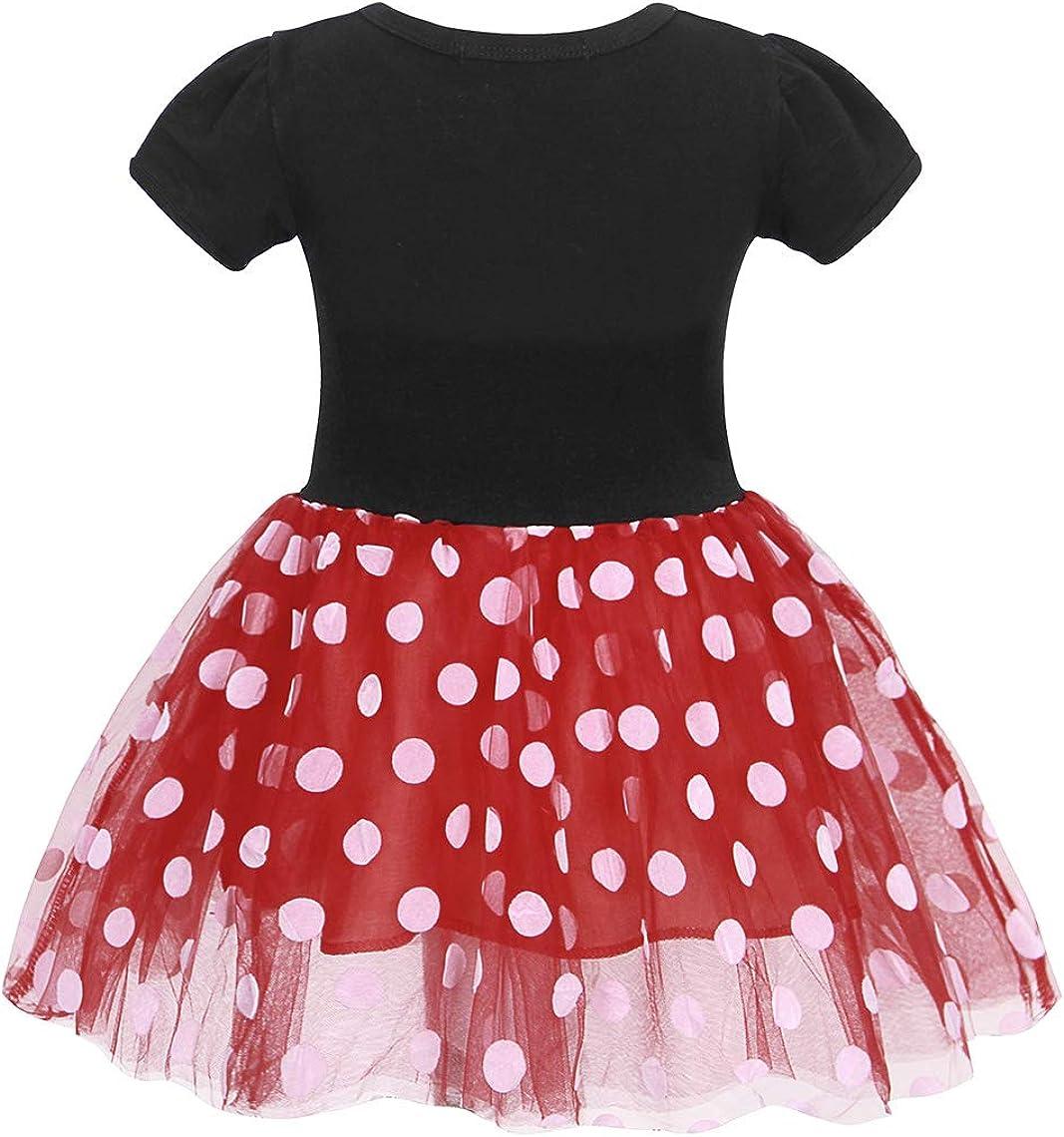 MetCuento Girls Polka Dots Costume Tulle Spliced Ballet Dress Bowknot Headband Birthday Party Princess Tutu Dress 2-6T