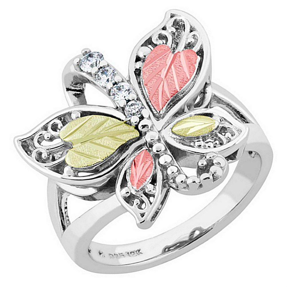 Graduated CZ with Scrollwork Butterfly Ring, Sterling Silver, 12k Green and Rose Gold Black Hills Gold Motif, Size 8.5