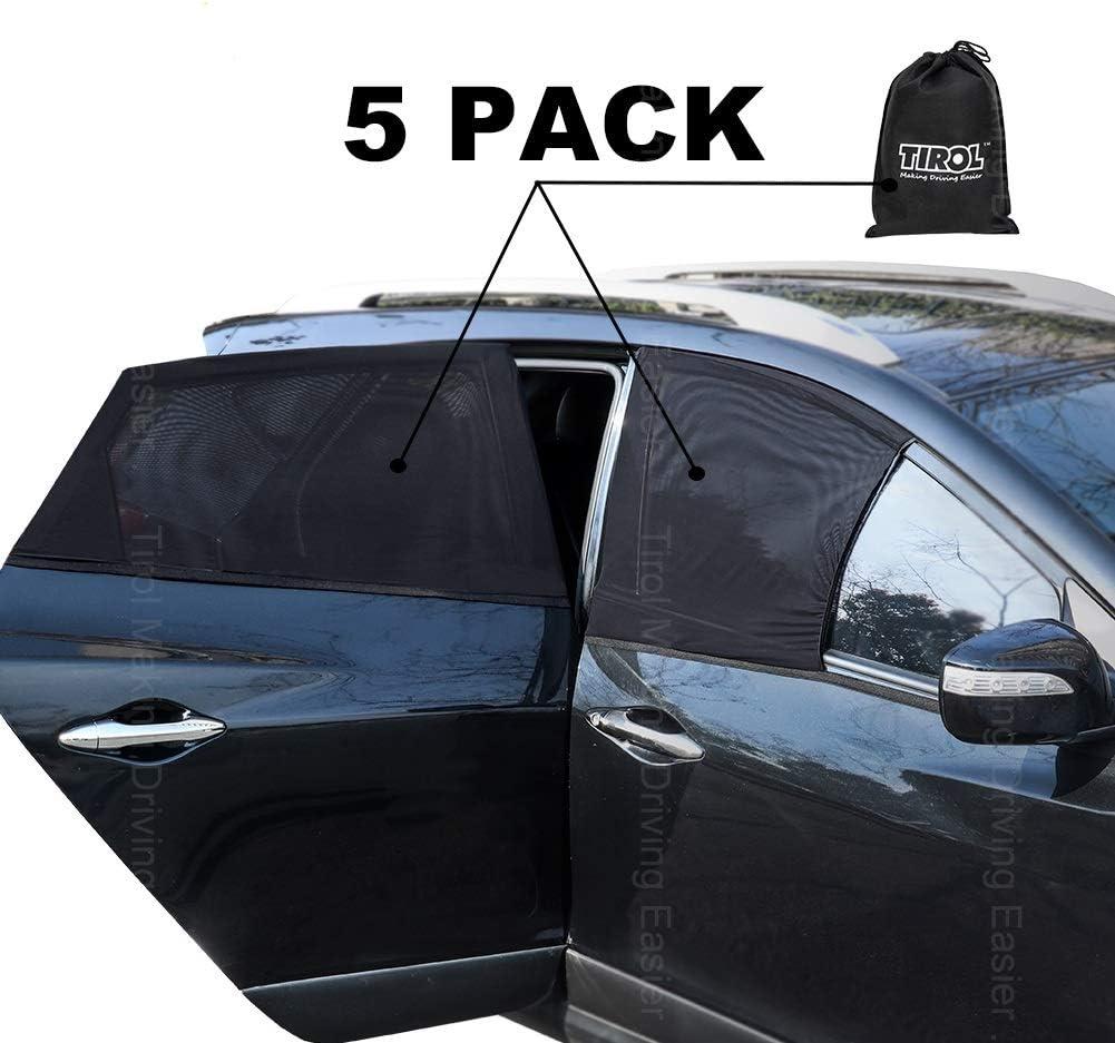 Tirol Front Side Window Sunshades 2 Pack Universal Car Front Sun Visor Protector Mesh Fabric Sun Shade for SUV Sedans Car Interior Accessories