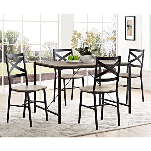 5 Piece Angle Iron Wood Dining Set in Driftwood Finish
