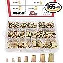 Hilitchi 150pcs Mixed Zinc Plated Carbon Steel Rivet Nut Threaded Insert Nutsert M4  5  6  8  10