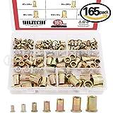 #4: Hilitchi 150pcs Mixed Zinc Plated Carbon Steel Rivet Nut Threaded Insert Nutsert M4  5  6  8  10