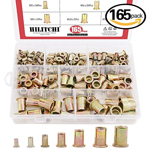 Hilitchi 150pcs Mixed Zinc Plated Carbon Steel Rivet Nut Threaded Insert Nutsert M4  5  6  8  (150 Carbon Insert)