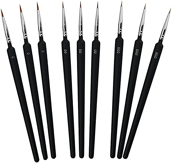 Buzifu Brush Set 9 Pieces Detail Brushes Professional Artist Brushes Drawing Brushes Painting Fine Brush For Fine Details Watercolour Oil Acrylic Fine Model Making Various Sizes 0 00 And 000 Küche Haushalt
