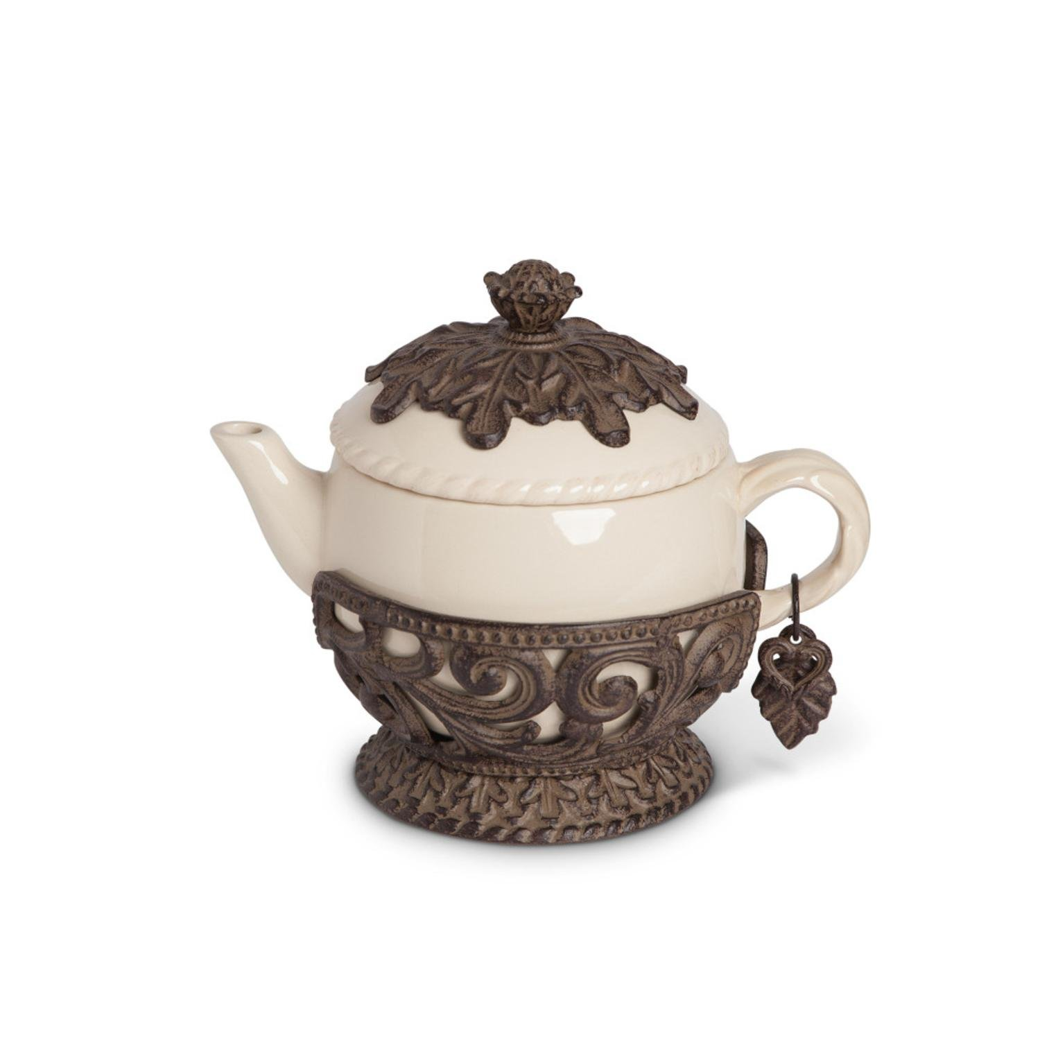 32 oz Cream and Brown Party Decorative Teapot with Acanthus Leaf Base