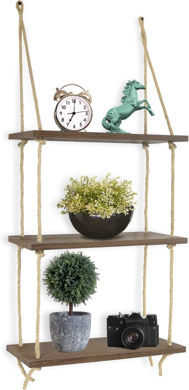 Greenco Decorative Rustic Jute Rope Wall Hanging Floating Shelves, Distressed Wood, 3 Tier