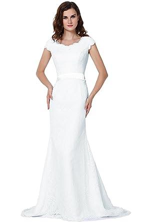 vegeron cap sleeve mermaid lace wedding dresses bridal gowns for women ivory size 0