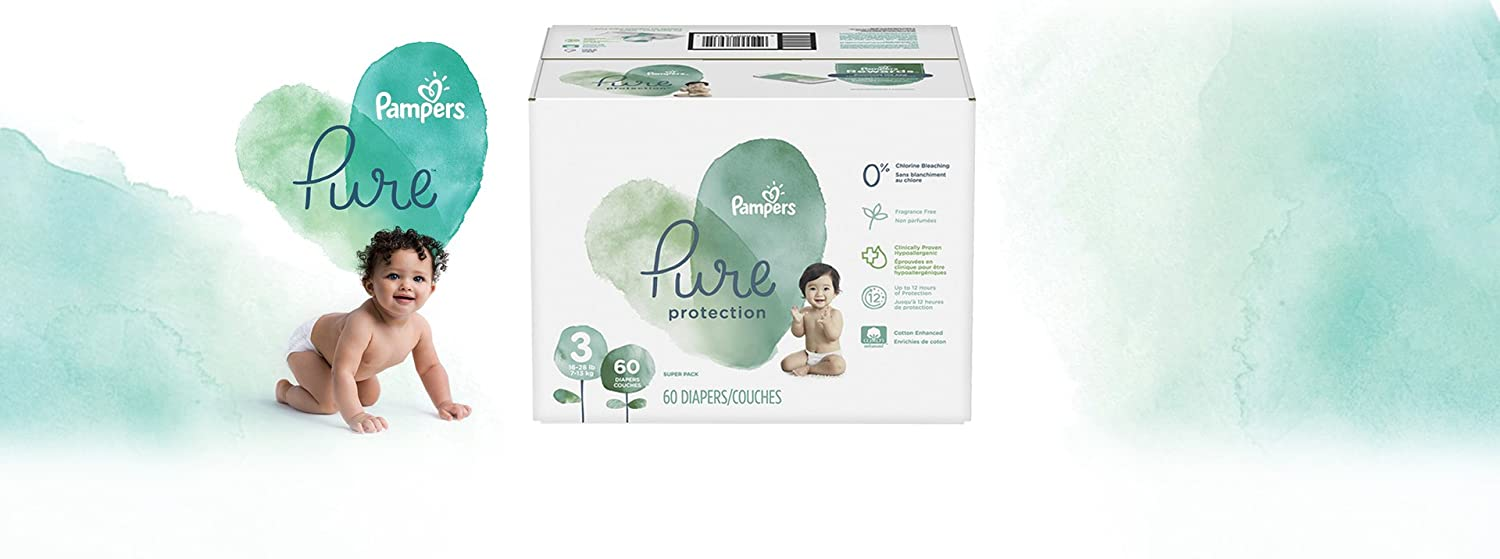 Super Pack Pampers Diapers Size 4 52 Count Pure Protection Disposable Baby Diapers Packaging May Vary
