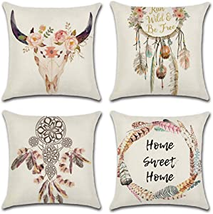 CHARMKING 4pcs Throw Pillow Covers 18x18,Decorative Pillow Covers for Bedroom,Couch,Sofa & Car Cushion,Outdoor Pillow Covers,Cotton Linen Lumbar Pillow Cases with Wild Nature,Housewarming Gifts,Pink