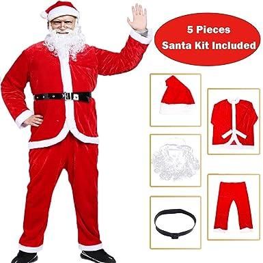 930fb362aab Amazon.com  BiBOSS Christmas Costumes for Men Santa Claus Costume Velvet  Deluxe Santa Suits  Clothing