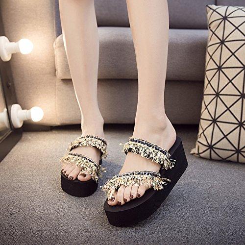 veraniega negro Personalidad playa FLYRCX calzado zapatillas moda a damas de casual 75XCqwxp