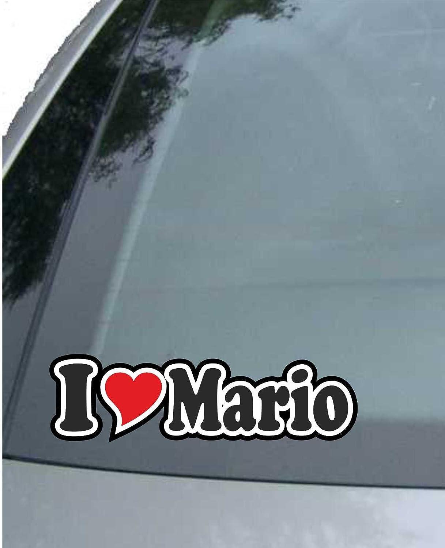 Aufkleber//Autoaufkleber I Love Heart Auto LKW Truck INDIGOS UG Ich Liebe mit Herz 15 cm I Love Mario Sticker mit Namen vom Mann Frau Kind