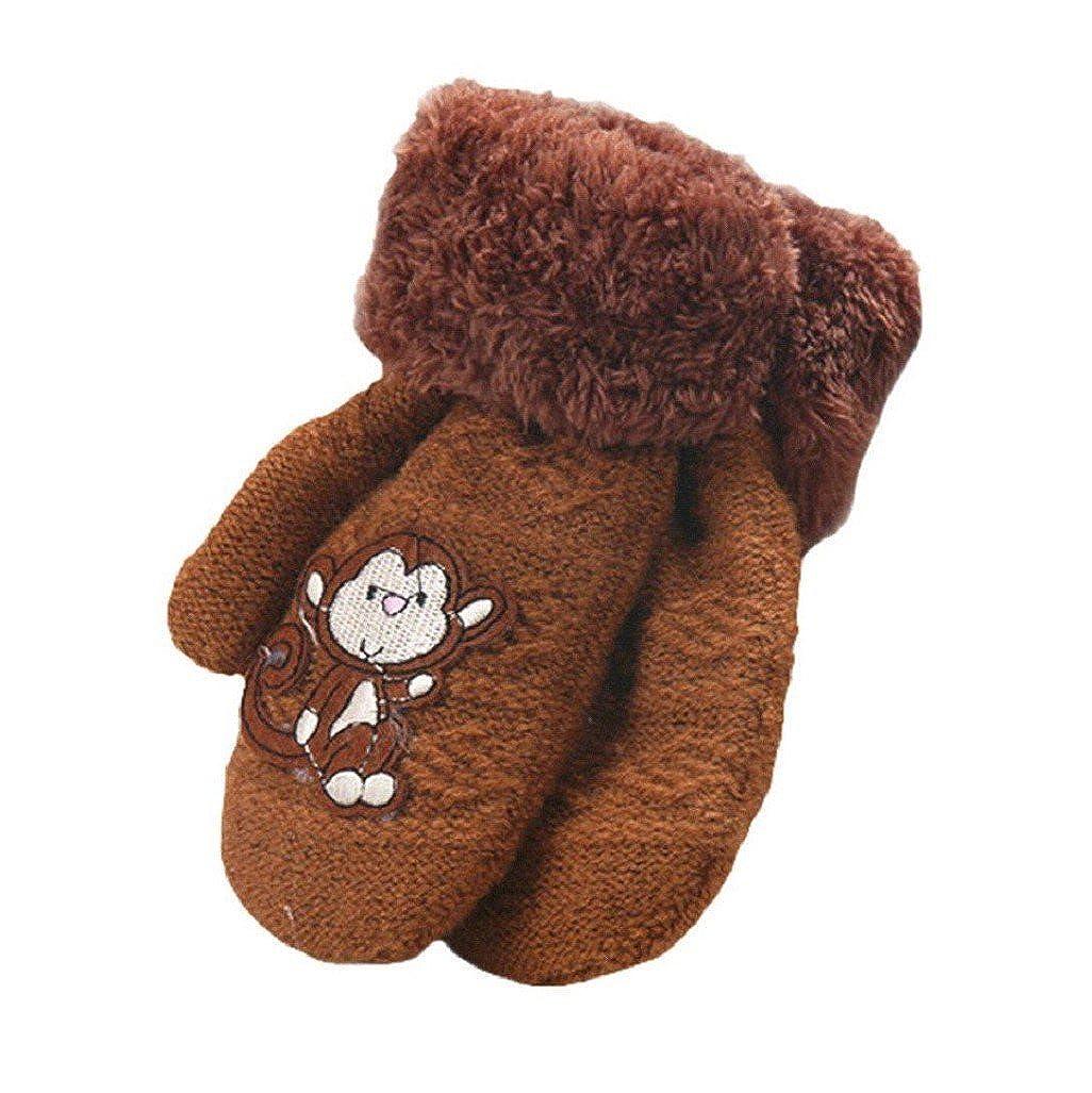 Auxma Warm Gloves Baby Girls Boys Cute Monkey Pattern Winter Gloves Infant Thicken Comfort Mittens