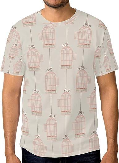 Camiseta básica de Manga Corta para Hombre, diseño de jaulas de Cuerdas: Amazon.es: Ropa y accesorios