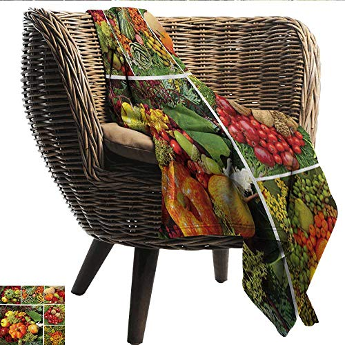Digital Printing Blanket Harvest Photograph of Products from Various Gardens and Fields Seasonal Foods Apple Walnuts All Season for Couch or Bed W60