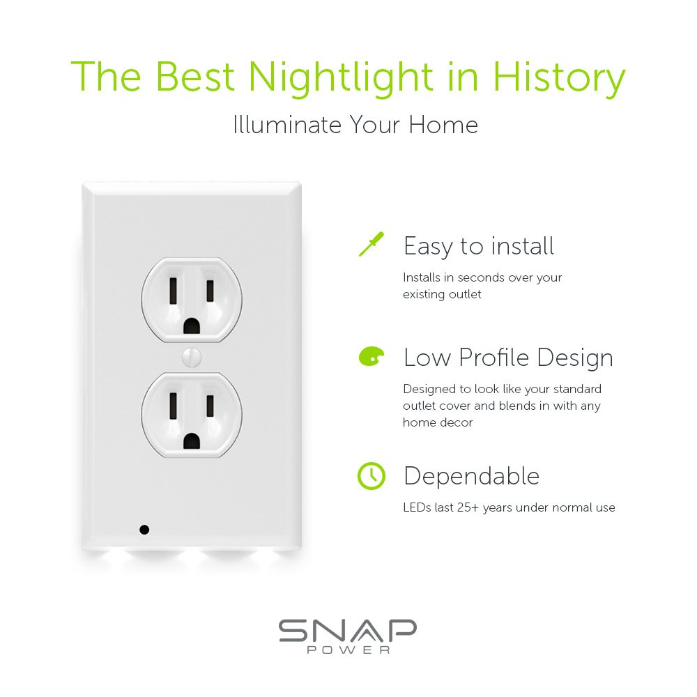 Snappower Guidelight Outlet Wall Plate With Led Night Lights No Nightlight And Switch Wiring Batteries Or Wires Installs In Seconds Duplex White 5 Pack