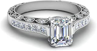 Silverstarking 14K White Gold Pl Vintage Style Engagement Ring with 1.76 CTW Emerald Cut White CZ Diamond
