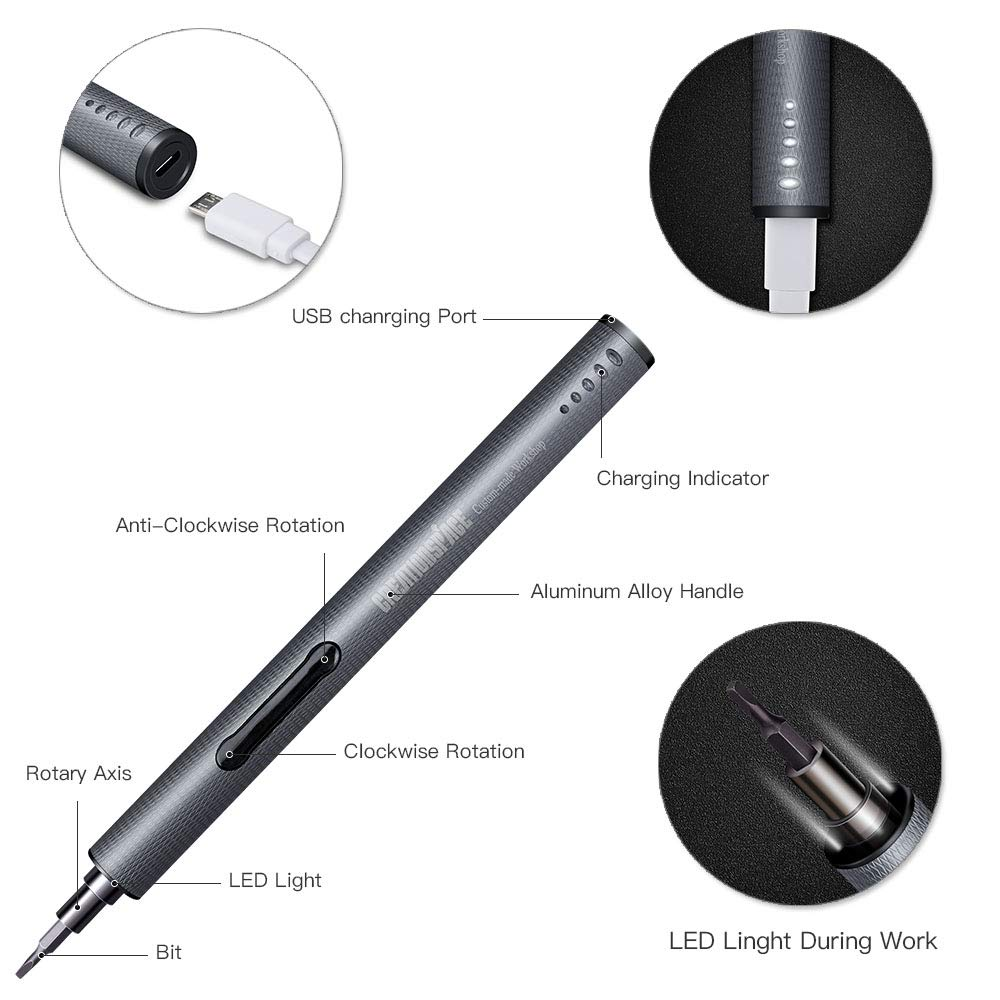 Mini Electric Screwdriver Rechargeable Cordless Power Screw Driver Kit with LED Light Lithium Battery Operated Power Tools Set