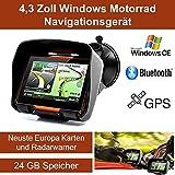 """4,3"""" Zoll PKW Navigationsgerät Navigation Bluetooth,PKW,Motorrad,Wasserdicht,GPS,Kostenlose Kartenupdate,Neuste Europa Karten Sowie Radarwarner,24GB Speicher"""