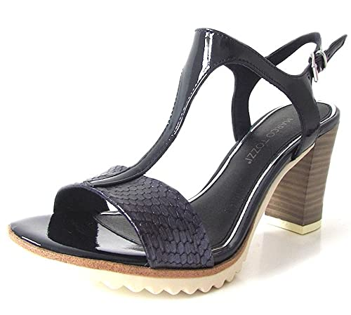 MARCO TOZZI - Ladies Navy Blue T-Bar Comfy Mid Block Heel Sandals Womens  Size