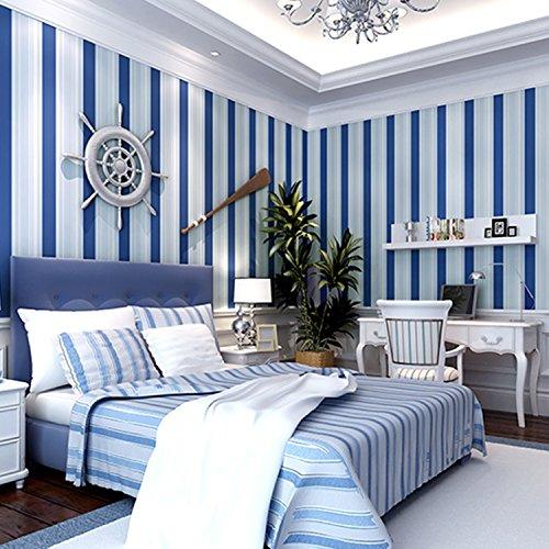 HUANGYAHUI Modern Mediterranean Dark Blue Non-Woven Wallpaper, Bedroom, Living Room, Children'S Room, Clothing Shop, Blue And White Stripe Wallpaper,A (Mediterranean Bedroom Furniture)