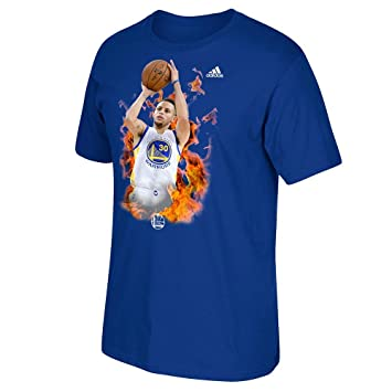 Adidas Stephen Curry Golden State Warriors NBA Azul Fired Up Graphic Camiseta para Hombre, Large
