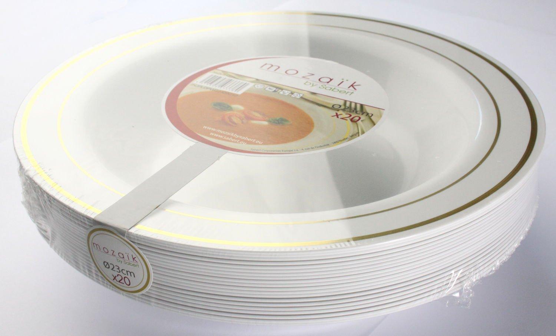 20 pezzi MOZAIK Piatti fondi di plastica bianchi con bordo dorato MOZAIK da 23 cm