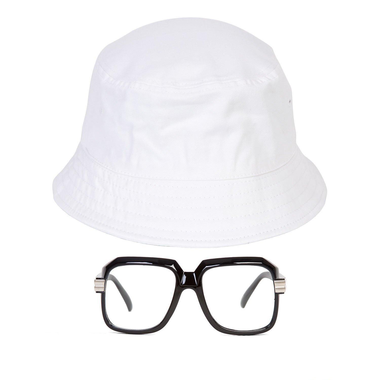 Gravity Trading 80s/90s Hip-Hop Costume Kit (Bucket Hat + Old School Squared Glasses) White S/M