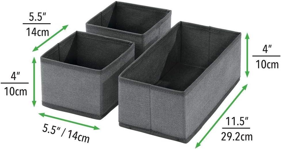 mDesign Set da 12 Organizer in stoffa leggins ecc Versatili box per cassetti per camera da letto biancheria marrone Contenitore portaoggetti in fibra sintetica per calze