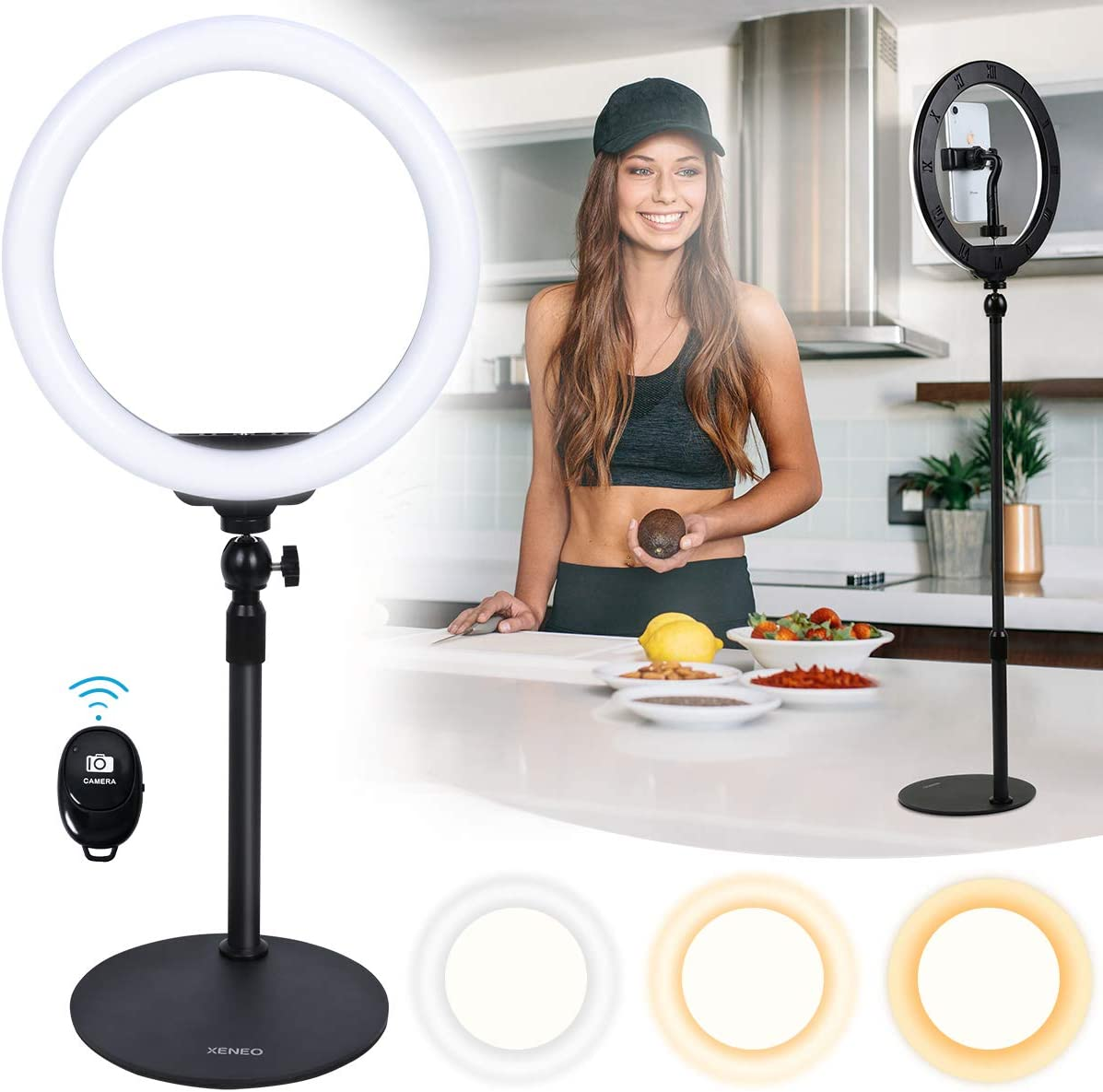 "Xeneo 10"" Desktop Selfie Ring Light with Stand and Phone Holder for iPhone Android, 3 Light Modes Dimmable LED Ringlight for YouTube/Video Shooting/Streaming/Makeup with Remote Shutter"