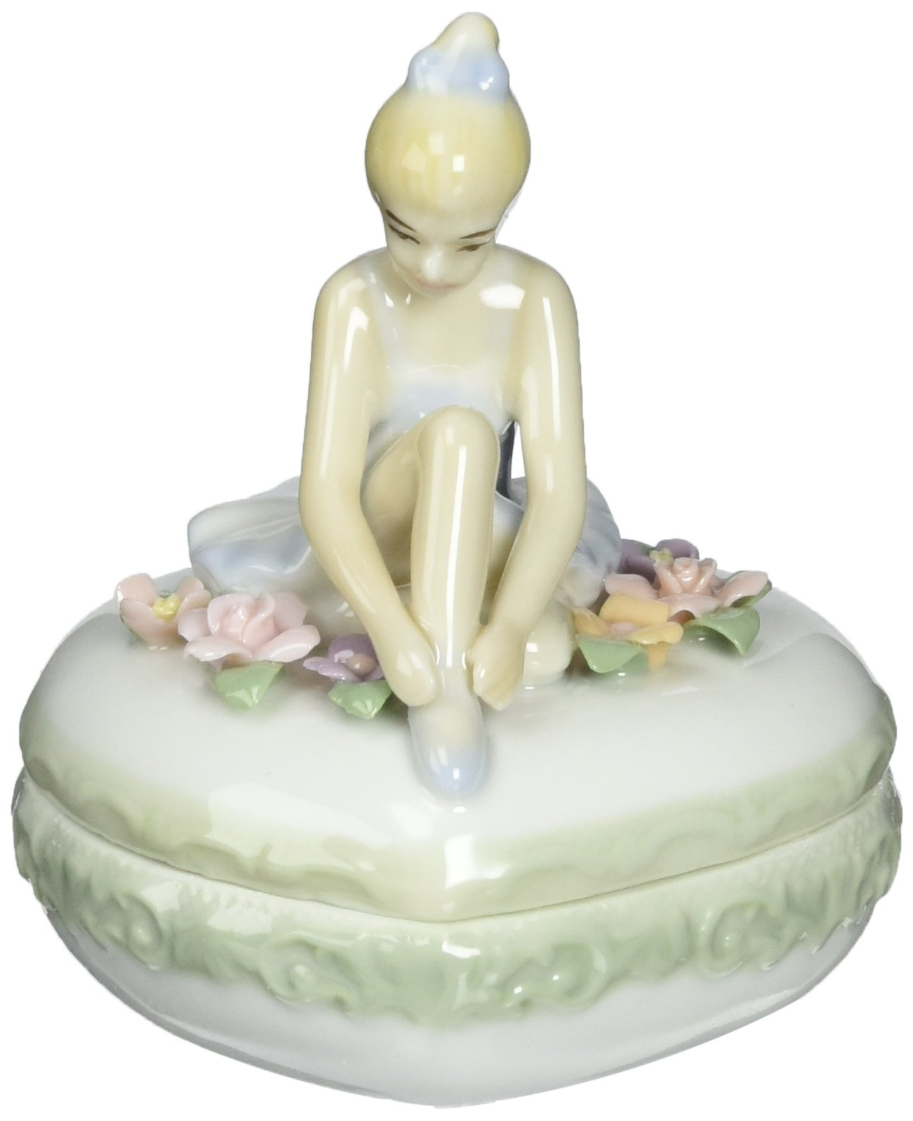 Cosmos 96379 Fine Porcelain Heart Box Ballerina Figurine, 3-1/2-Inch