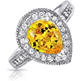 Bling Jewelry Sterling Silver Canary Yellow CZ Teardrop Engagement Ring