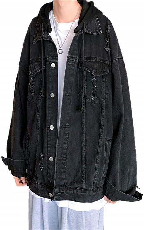 [YIMING] メンズ カウボーイコート ゆったり 大きいサイズ デニムジャケット 原宿風 無地 ヴィンテージ プリント フード付き コーディネート