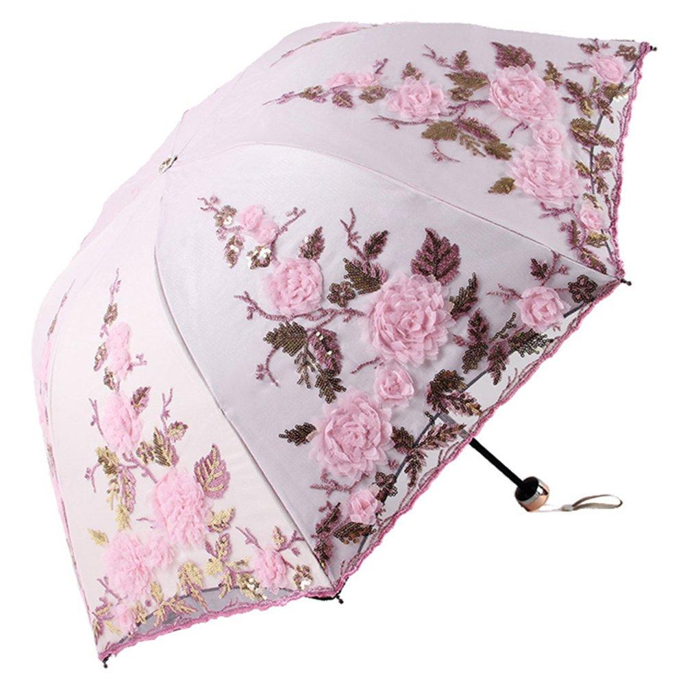 Honeystore Lace Parasol Decoration Bridal Shower Vintage Umbrellas for Wedding 1821 Pink