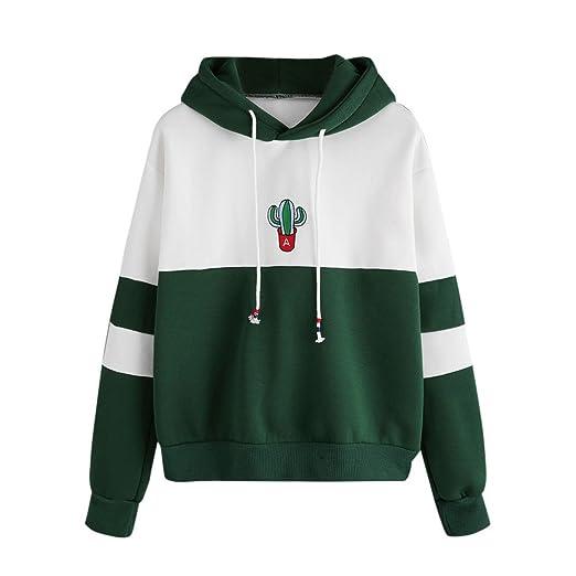 8b28d2f75f0 Luca Green White Womens Long Sleeve Cactus Print Hoodie Sweatshirt ...
