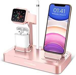 BENTOBEN 4 in 1 Charging Stand Compatible with Apple Watch Series 5/4/3/2/1, Charging Dock Station Desk Stand for Airpods 2/1 iPhone 11 Pro Max XR XS Max X 8 7 6S 6 Plus with Pencil Holder, Rose Gold