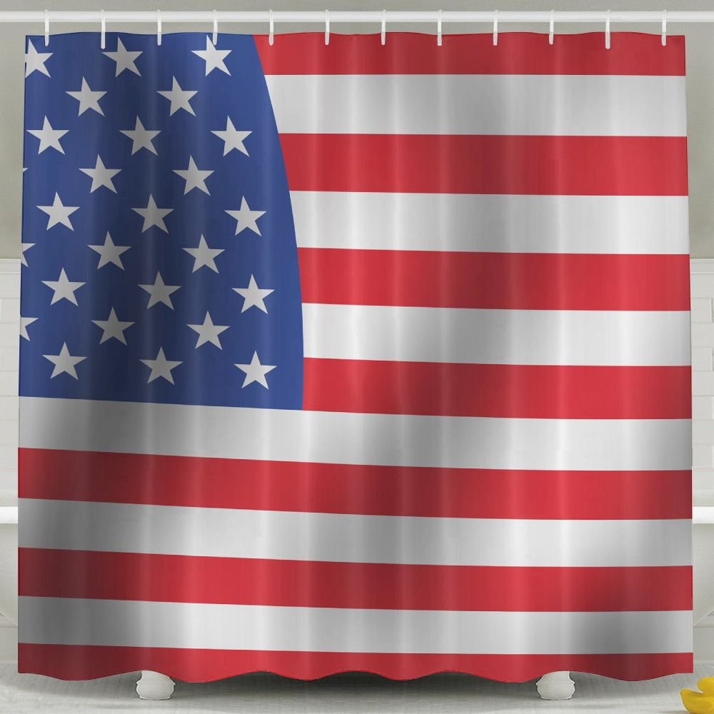 BINGO FLAG Funny Fabric Shower Curtain USA Flag Waterproof Bathroom Decor With Hooks 60 X 72 Inch
