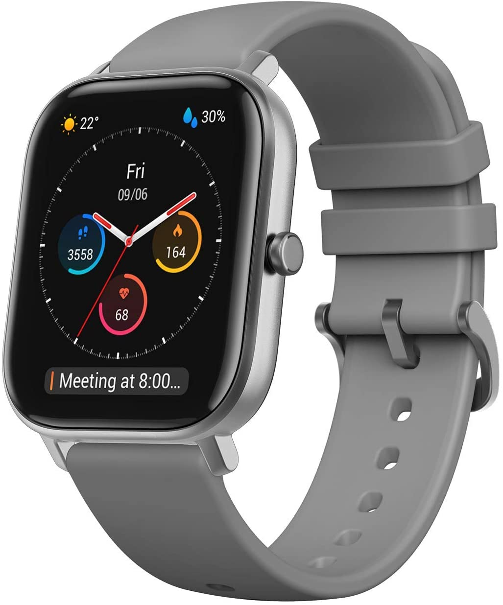 """Amazfit GTS Fitness Smartwatch with Heart Rate Monitor, 14-Day Battery Life, Music Control, 1.65"""" Display, Sleep and Swim Tracking, GPS, Water Resistant, Smart Notifications, Lava Gray"""