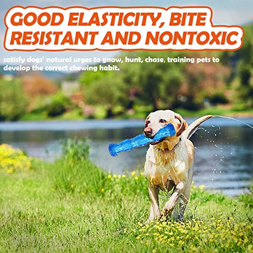 ZNOKA TPR Squeak Dog Chew Bone Toy, Bite Resistant Durable Tough Rubber Non-Toxic Tooth Cleaning Toy for Aggressive Chewer, Floating & Suitable for Pool Use, Large (Blue)