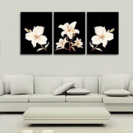Art Impartial Abstract White Red Flowers Floral Black Art Large Oil Painting Canvas Original 1 Fixing Prices According To Quality Of Products