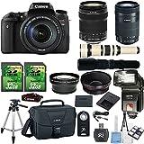 Canon EOS Digital Rebel T6s 24.2MP DSLR Camera with Canon 18-135mm STM Lens + Canon 55-250mm STM Lens + 500mm Present Lens + 2pc 32GB Memory Cards + Slave Flash + Card Reader Canon Case + 50'' Tripod