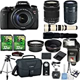 Canon EOS Digital Rebel T6s 24.2MP DSLR Camera with Canon 18-135mm STM Lens + Canon 55-250mm STM Lens + 500mm Present Lens + 2pc 32GB Memory Cards + Slave Flash + Card Reader Canon Case + 50'' Tripod