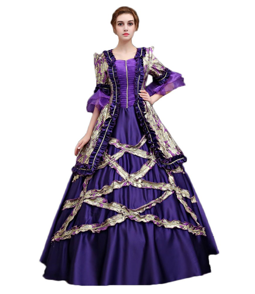 Zukzi Women's 3/4 Sleeve Long Purple Prom Dresses Victorian Gown, X7934, Customized