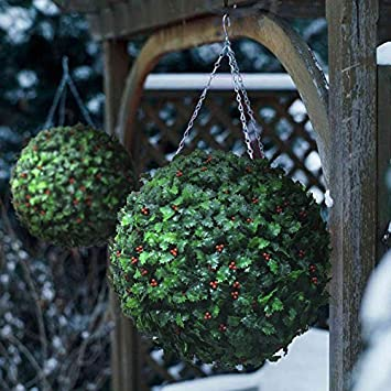 2 Best Artificial (TM) 40cm Christmas Holly Topiary Balls Xmas ...
