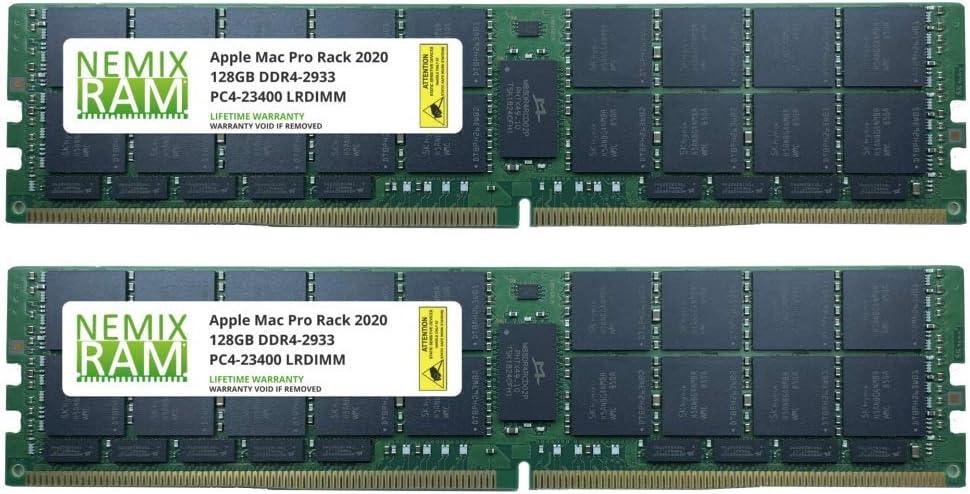 256GB 2x128GB DDR4-2933 PC4-23400 LRDIMM Memory for Apple Mac Pro Rack 2020 MacPro 7,1 by NEMIX RAM
